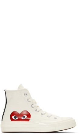 Comme des Garons Play - Off-White Converse Edition Half Heart Chuck Taylor All-Star '70 High-Top Sneakers