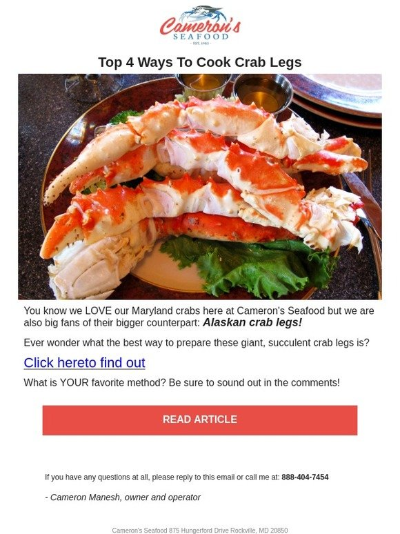 Cameron's Seafood Online: Top 4 Ways To Cook Crab Legs   Milled