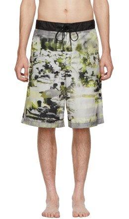 Prada - Green & Grey Beach Feather Swim Shorts