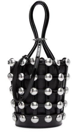 Alexander Wang - Black Mini Patent Roxy Cage Bucket Bag