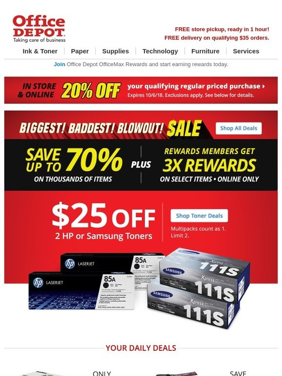 Office Max: Start October off with new toner  $25 off HP & Samsung
