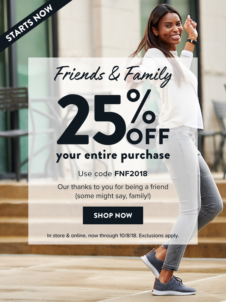 5ce63880279c friends and family - 25 percent off your purchase with code FNF2018
