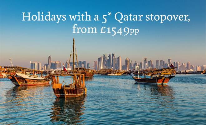 Holidays with a 5* Qatar stopover, from 1549pp