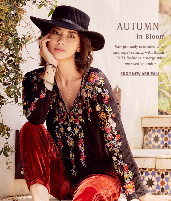 Autumn in Bloom: Sumptuously saturated velvet and tops teeming with florals - - Falls fashions emerge with renewed splendor. Shop new arrivals