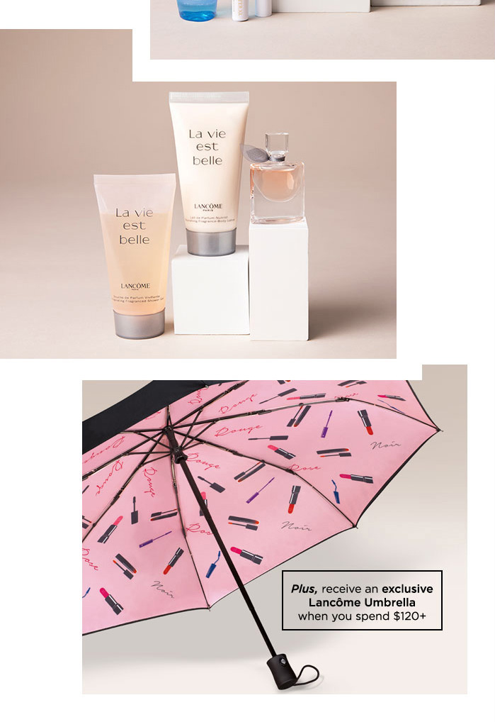 Plus, receive an exclusive Lancôme Umbrella when you spend $120 plus - Sample and Free Standard Shipping offer valid from 12:00 AM EDT October 5, 2018 through 11:59 PM PST October 18, 2018. Quantities are limited and all offers are subject to availability while supplies last.