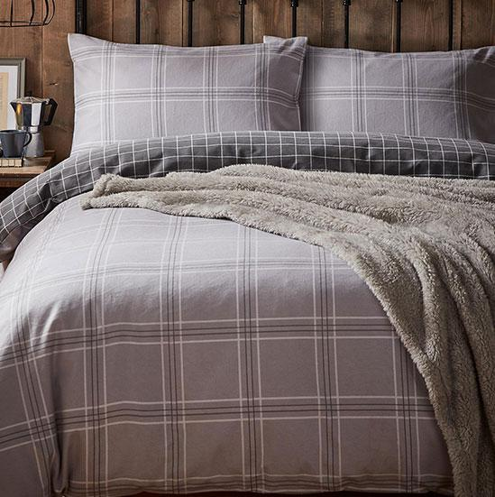4b80bd66e632f Grey Check Reversible Brushed Cotton Duvet Cover and Pillowcase Set