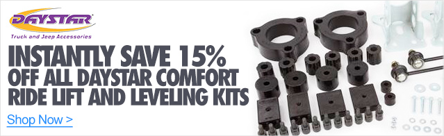 Instantly Save 15% off all Daystar Comfort Ride lift and leveling Kits