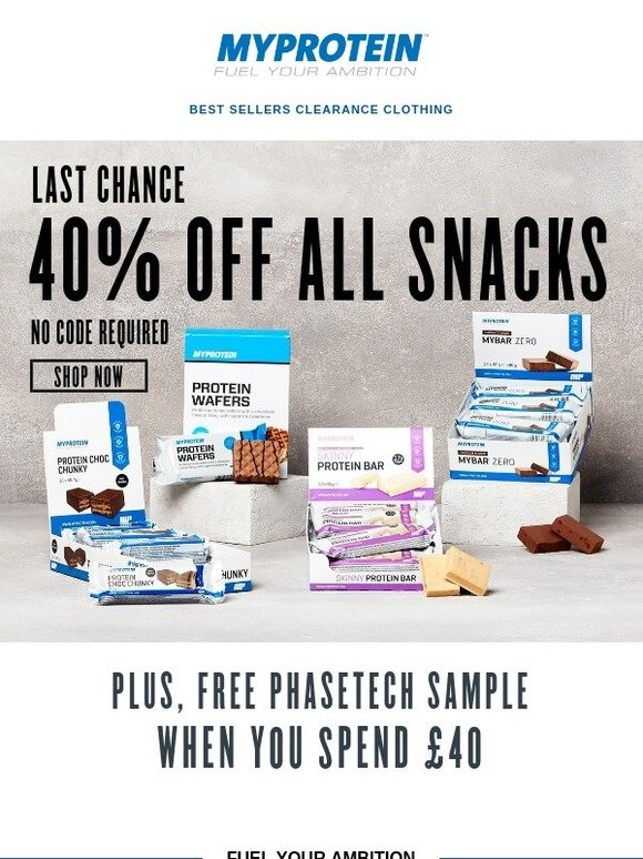 Myprotein (US): Hungry for more? 40% off snacks  Last chance