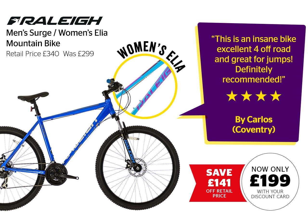 Raleigh Men's Surge / Women's Elia Mountain Bike