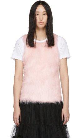 Comme des Garons Girl - White Faux-Fur Panel T-Shirt