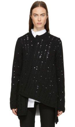 Comme des Garons Homme Plus - Black Wool Asymmetrical Splash Sweater