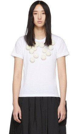 Comme des Garons Girl - White Pom Pom T-Shirt