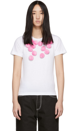 Comme des Garons Girl - White & Pink Pom Pom T-Shirt