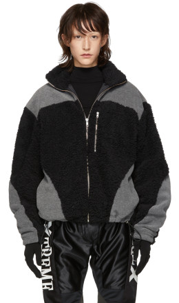 GmbH - Black & Grey Teddy Fleece Kol Zip-Up Sweater