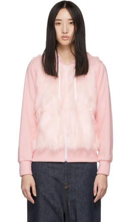 Comme des Garons Girl - Pink Faux-Fur Panel Hoodie
