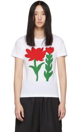 Comme des Garons Girl - White Flower B Print T-Shirt