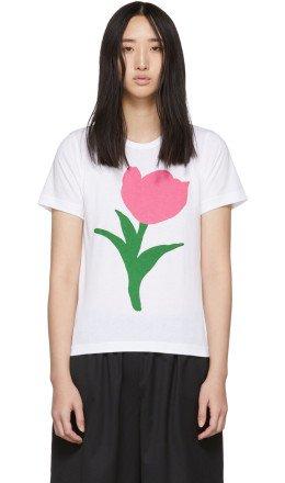 Comme des Garons Girl - White Flower A Print T-Shirt