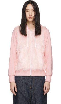 Comme des Garons Girl - Pink Faux-Fur Panel Hoodie