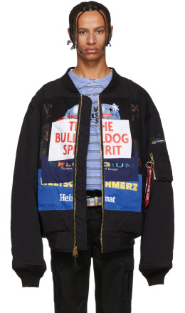 Vetements - Reversible Black Alpha Industries Edition Oversized Bulldog Patchwork Bomber Jacket