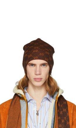 Gucci - Brown & Orange Alpaca GG Supreme Beanie