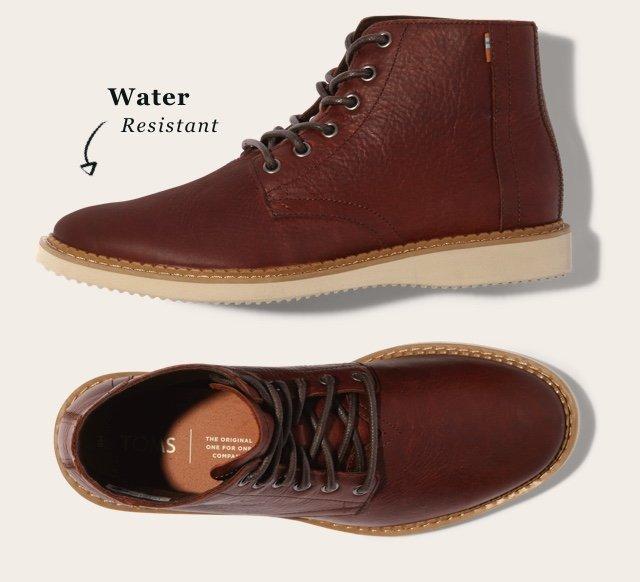 Water Resistant Dark Brown Leather Men's Porter Boots