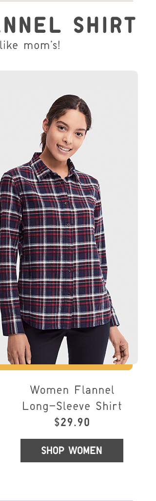 WOMEN FLANNEL LONG-SLEEVE SHIRT $29.90 - SHOP WOMEN