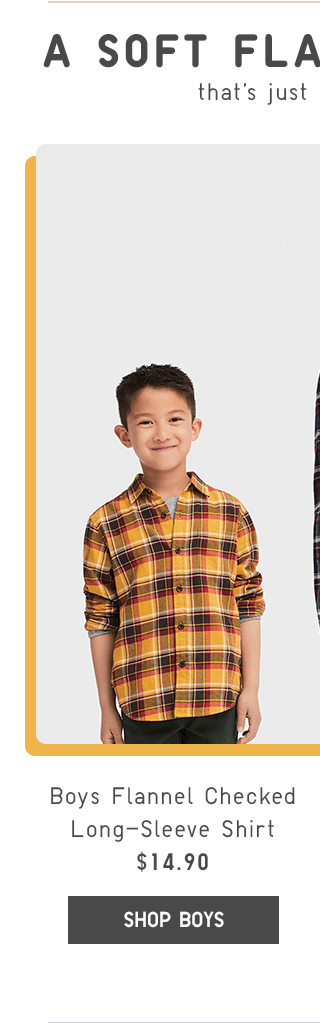BOYS FLANNEL CHECKED LONG-SLEEVE SHIRT $14.90 - SHOP BOYS