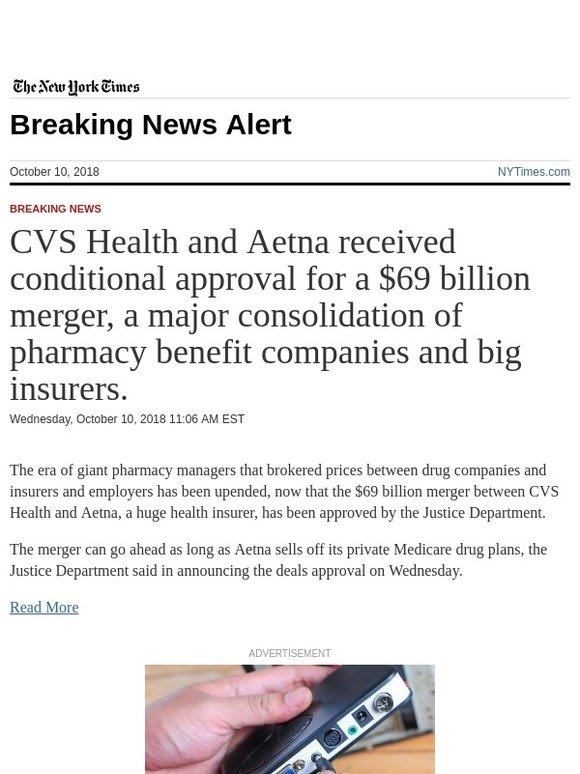 The New York Times: Breaking News: CVS Health and Aetna