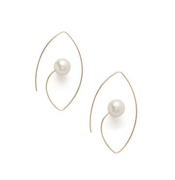 Hirotaka White South Sea Pearl Floating Oval Earrings $800