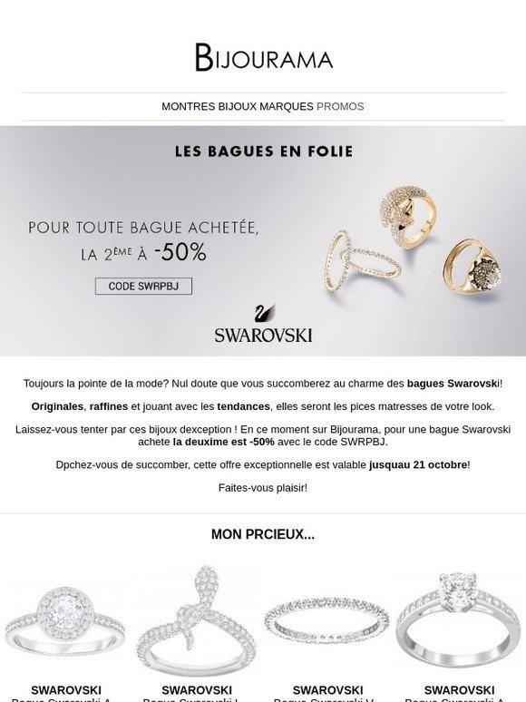 Pré-commander style classique de 2019 économiser jusqu'à 80% Bijourama.Com: 💍 Swarovski vous offre 50% sur votre 2ème ...