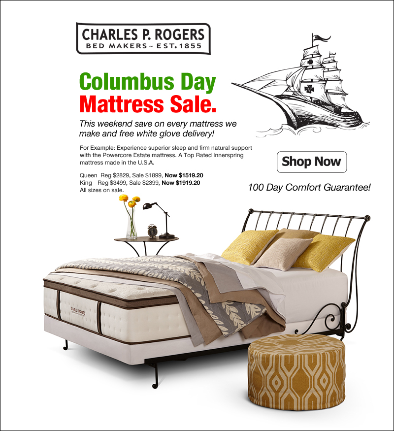 Charles P Rogers: Columbus Day Mattress Sale This Week | Milled