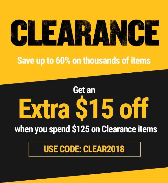 Clearance - Get an EXTRA $15 off when you spend $125 on Clearance items - USE CODE: CLEAR2018