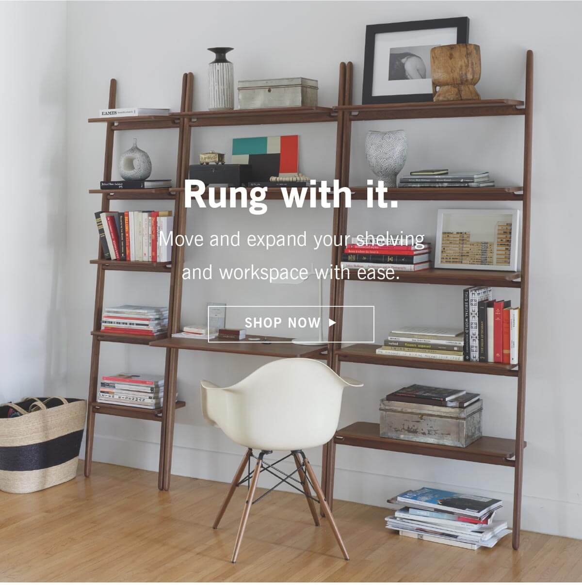 Move and expand your shelving and workspace with ease.