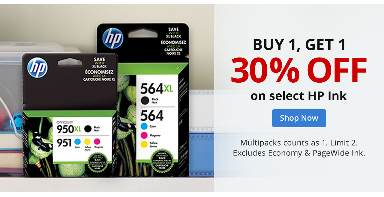 Buy 1 Get 1, and 30% off HP Ink