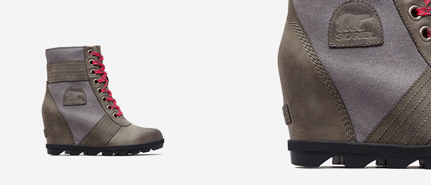 Left: Lexie Wedge boot, Right: Close-up shot