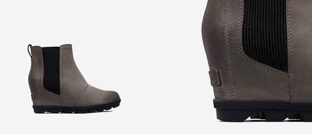 Left: Quarry Joan Wedge Chelsea boot, Right: Close-up shot