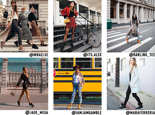 Instagram images of influencers wearing SOREL shoes