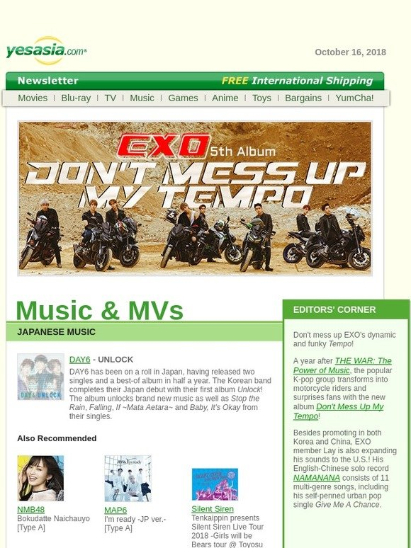Yesasia: New at YesAsia: EXO, Joey Yung, DAY6, Legend of