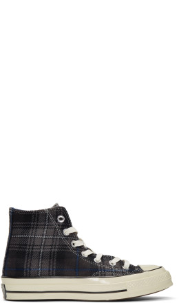Converse - Black Plaid Chuck Taylor '70 High-Top Sneakers