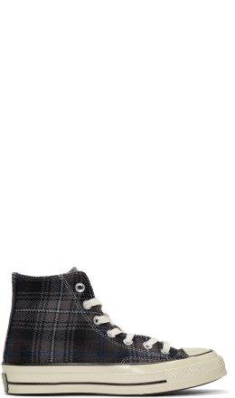 Converse - Black Plaid Chuck Taylor '70 High-Top Sneakers