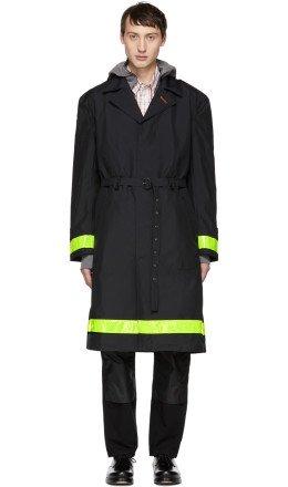 Junya Watanabe - Black 'Gore-Tex' Reflective Ripstop Trench Coat
