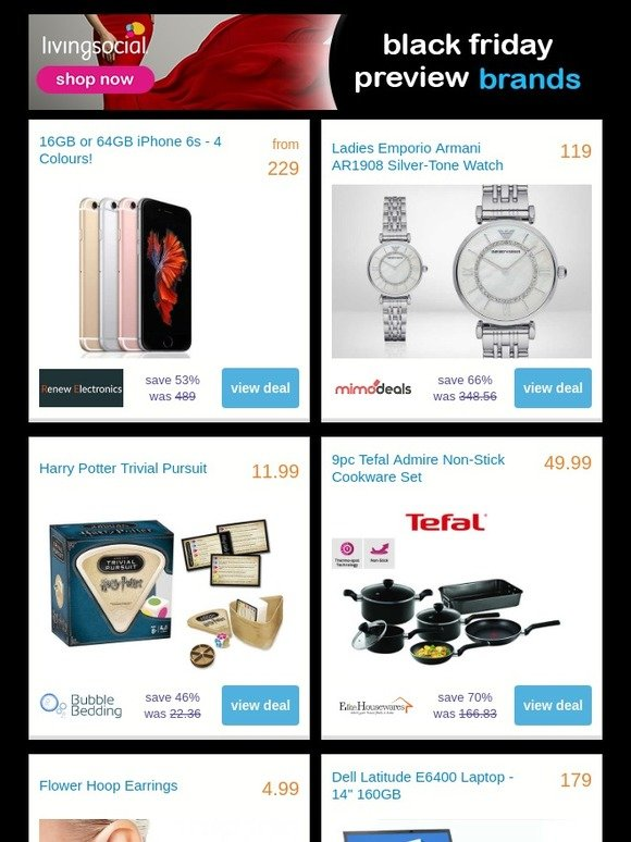 0947a813a99972 LivingSocial - Ireland  CONFIRMED! Black Friday preview savings on Apple,  Armani, Tefal and more!   Milled