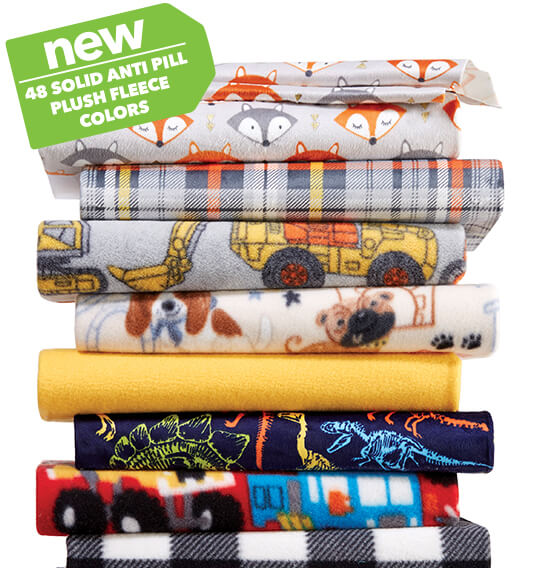 Blizzard, Anti Pill Plush, Luxe, Soft and Minky, Sew Lush and Ultra Fluffy Fleece Solids and Prints.
