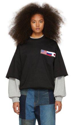 Gosha Rubchinskiy - Black & Grey Double Sleeve Flag Sweatshirt
