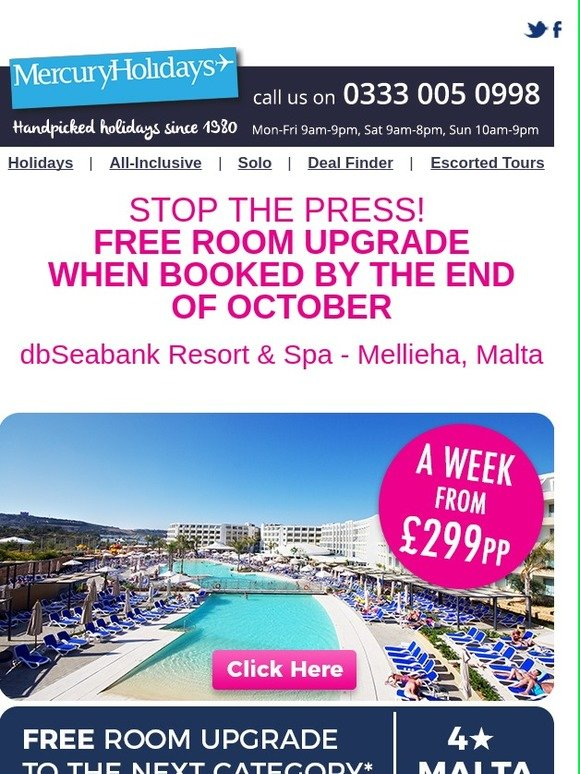 Mercury Direct: ☀️ -Fancy a free room upgrade? ☀️ | Milled