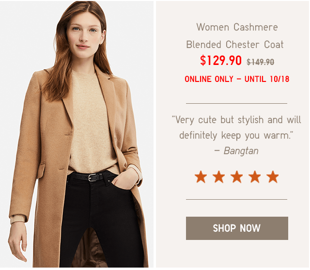 WOMEN CASHMERE BLENDED CHESTER COAT $129.90 - SHOP NOW