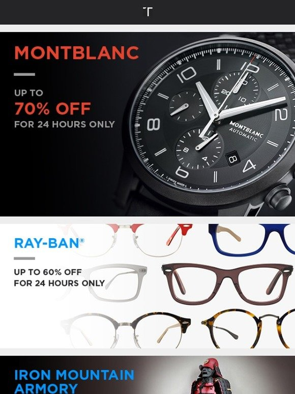 d4b181d43c035 Touch of Modern  24-Hours Only  Up to 70% off Montblanc Timepieces + Up to  60% off Ray-Ban Eyeglasses!