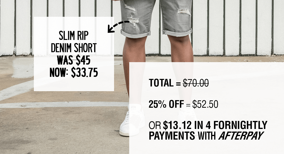 Slim Rip Denim Short - was $45 now $33.75