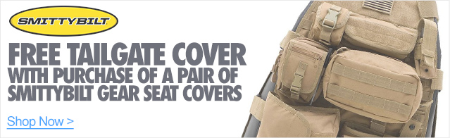 Free Tailgate Cover with purchase of a Pair of Smittybilt Gear Seat covers
