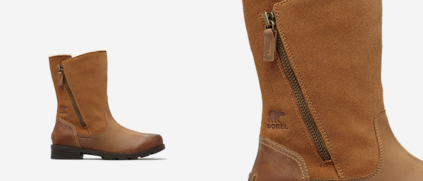 Left: Camel brown Emelie Foldover boot, Right: Close-up shot
